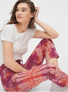 High Rise Tie-Dye Cheeky Straight Jeans with Secret Smoothing Pockets