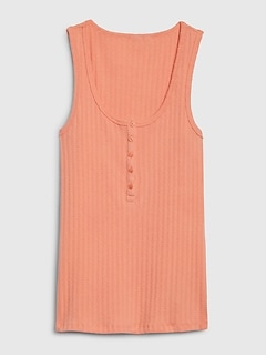 Sleeveless Ribbed Henley Top