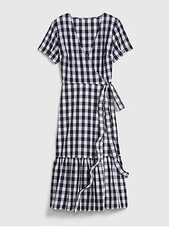 Gingham Wrap Midi Dress