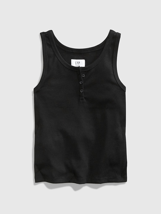 Teen Cropped Henley Tank Top
