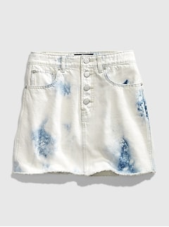 Teen Tie-Dye Denim Mini Skirt