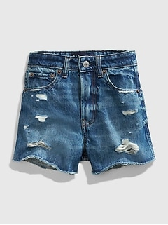 Teen Distressed Medium Wash Denim Shorts