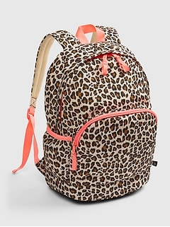 Kids Leopard Print Senior Backpack