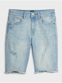 Kids High-Rise Distressed Denim Shorts