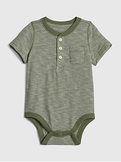 Baby Short Sleeve Henley Bodysuit