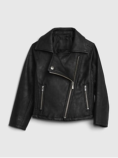 Toddler Faux Leather Moto Jacket