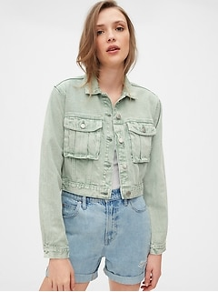 Cropped Utility Denim Jacket