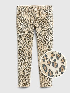 Kids Leopard Print Skinny Jeans with Stretch