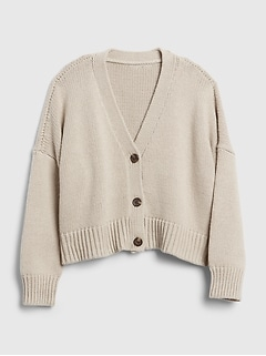 Kids Cropped Boxy Cardigan Sweater