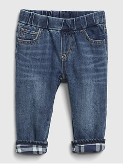 Baby Flannel Lined Straight Pull-On Jeans