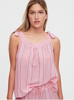 Dreamwell Shoulder-Tie Print Top in Modal