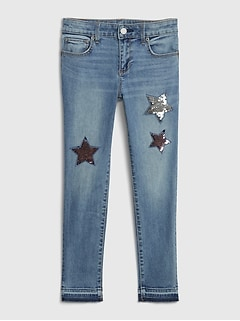 Kids Flippy Sequin Skinny Ankle Jeans