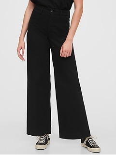 High Rise Wide-Leg Pants With Washwell™