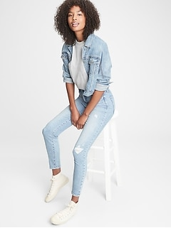 High Rise Distressed True Skinny Jeans with Secret Smoothing Pockets