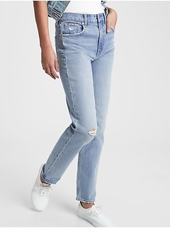 Sky High Distressed Straight Leg Jeans