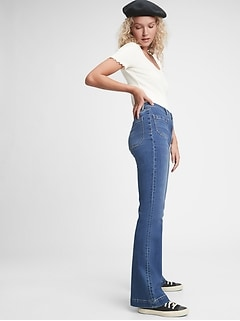 High Rise Patch Pocket Flare Jeans