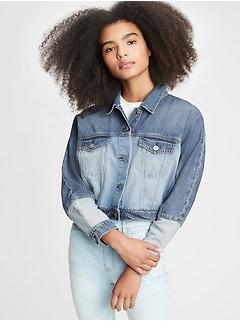 Teen Dolman Cropped Denim Jacket
