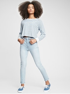 Teen Sky High Rise Skinny Ankle Jeans with Stretch