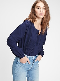 Pintuck Popover Lace Top