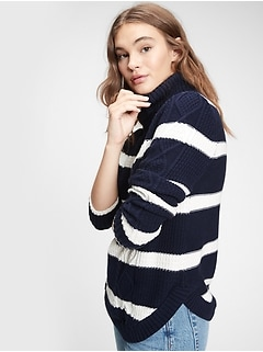 Cable-Knit Turtleneck Sweater