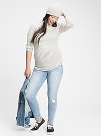 Maternity True Waistband Full Panel Distressed Skinny Jeans With Washwell&#153