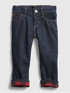 Toddler Plaid Lined Straight Jeans