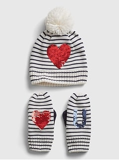 Kids Heart Graphic Hat and Mitten Set