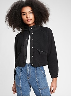 Teen Cropped Sherpa Bomber Jacket
