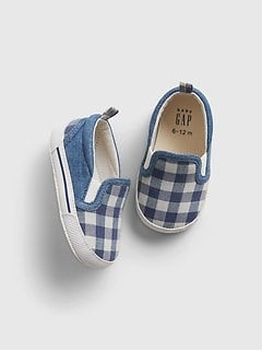 Baby Gingham Print Slip-On Shoes