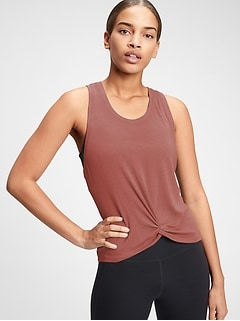 GapFit Supersoft Rib Twist-Front Tank Top