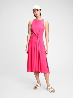 Sleeveless Knot-Twist Midi Dress