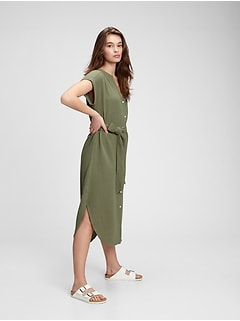 Gauze Midi Shirtdress