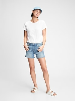 5'' Mid Rise Denim Shorts With Washwell™