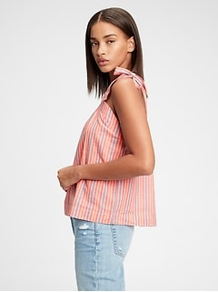 Shirred Tie-Strap Top