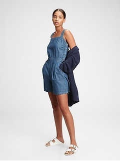 Apron Denim Romper