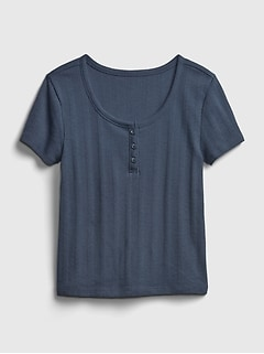 Teen Recycled Cropped Henley T-Shirt