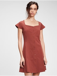 Button-Front Flare Dress
