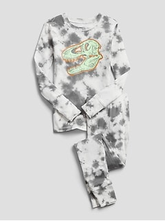 Kids Glow-In-The-Dark Tie-Dye Dinosaur PJ Set