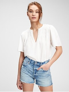 Smocked Flutter Sleeve T-Shirt