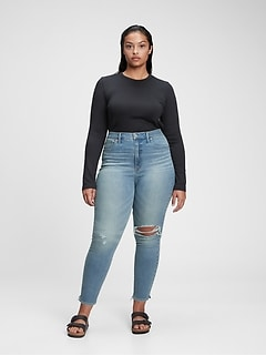 Sky High Rise Destructed True Skinny Jeans with Secret Smoothing Pockets With Washwell™