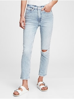 High Rise Destructed Cigarette Jeans