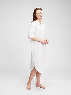 Crinkle Midi Shirt Dress