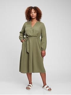 Gauze Tie-Waist Midi Dress