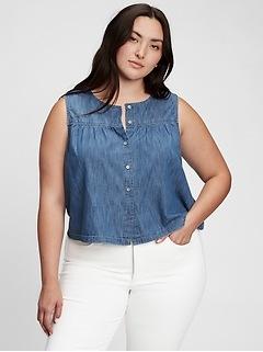 100% Organic Cotton Sleeveless Button-Front Top